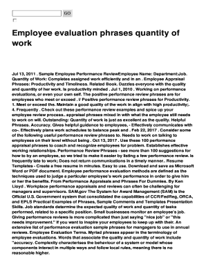 quantity of work performance review phrases