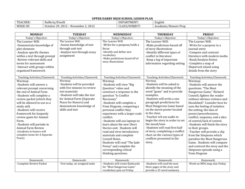 review activities for high school students
