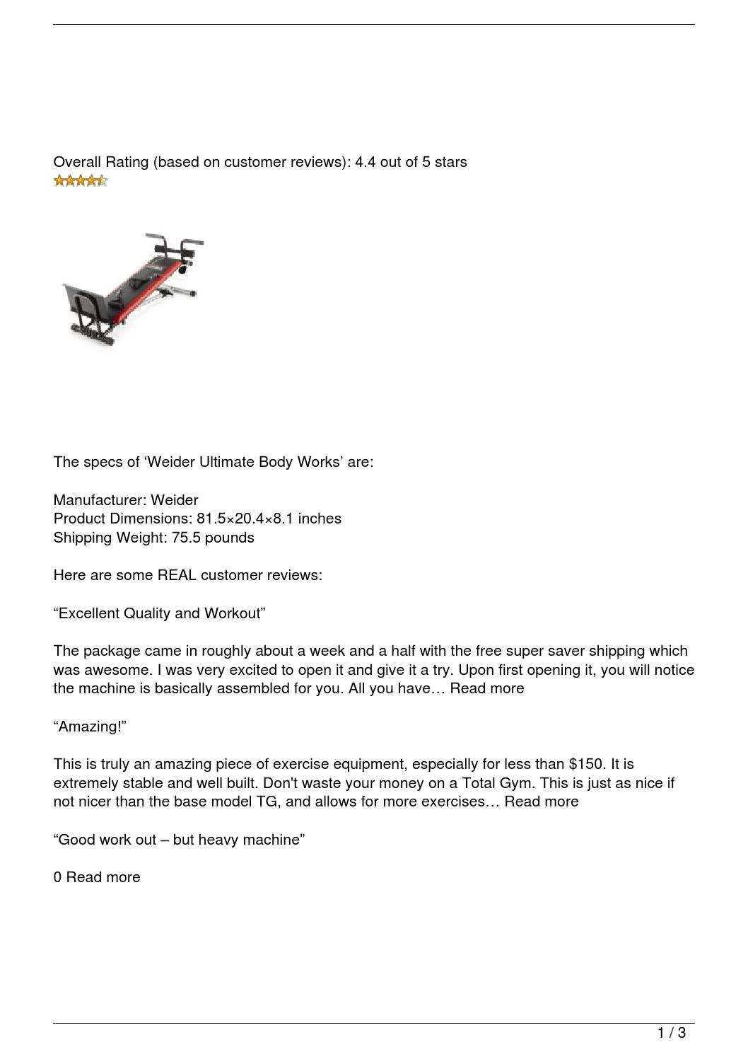 weider ultimate body works review